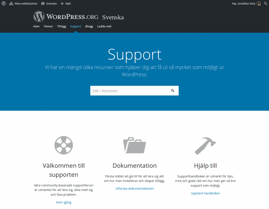 WordPress Sverige support och forum
